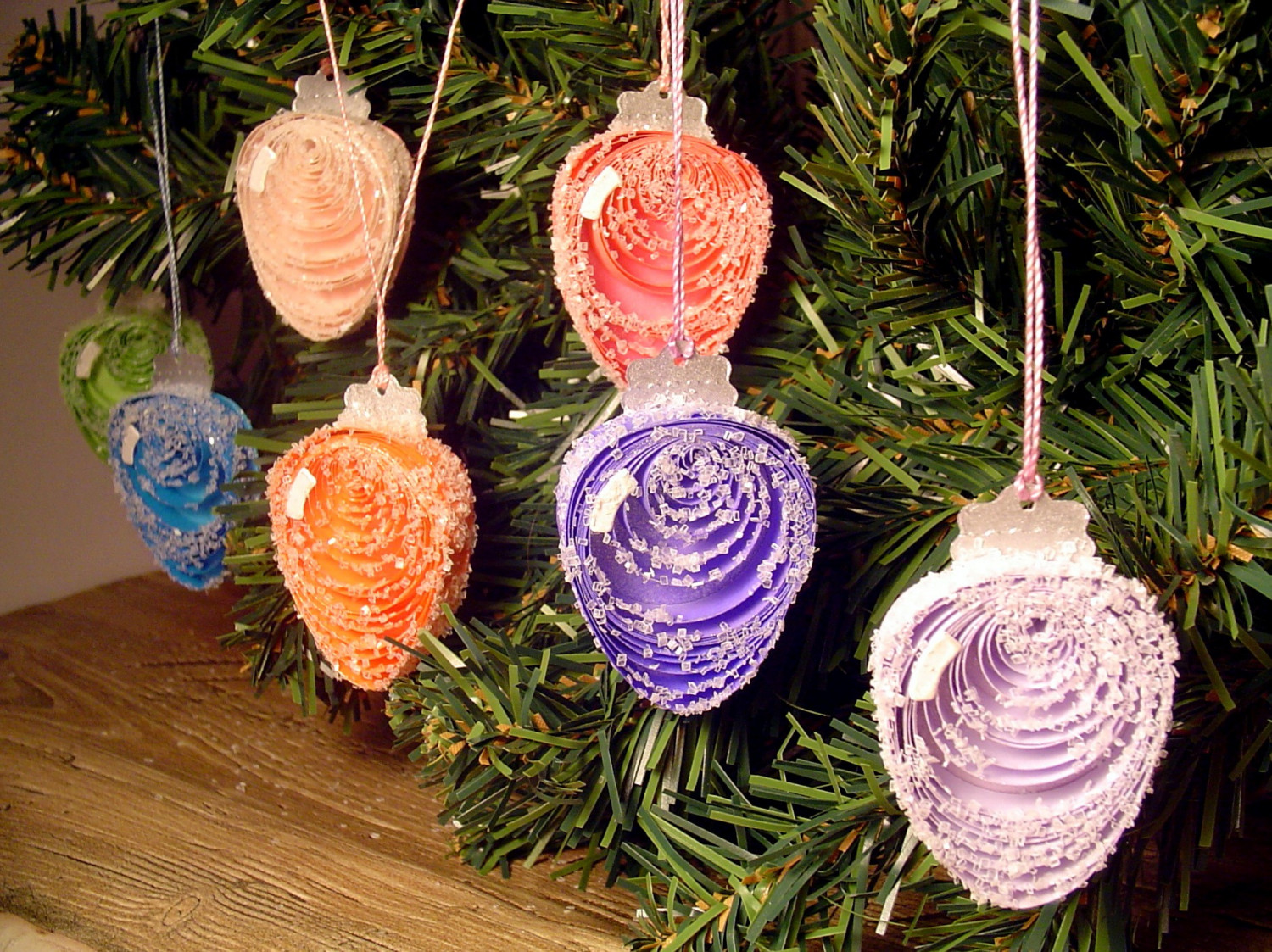 lights paper quilling ornaments set of 7 frosty christmas lights paper ...